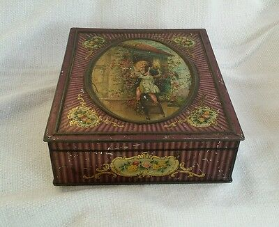 Vintage picture  biscuit tin Meredith & Drew Co