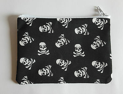 Pirate Skull and Crossbones Black Fabric Handmade Zippy Coin Purse Storage Pouch