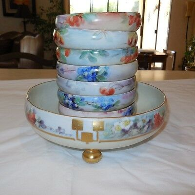 Rare Hand Painted Bavarian Footed Porcelain Berry Bowl Dessert  8 Piece Set Soup