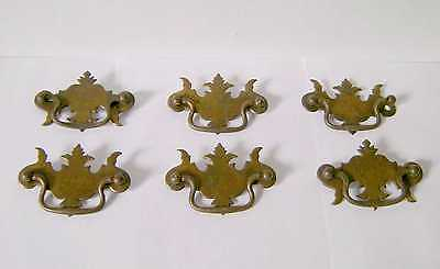 Set of Six Antique Ornate Brass Drawer Pulls / Handles