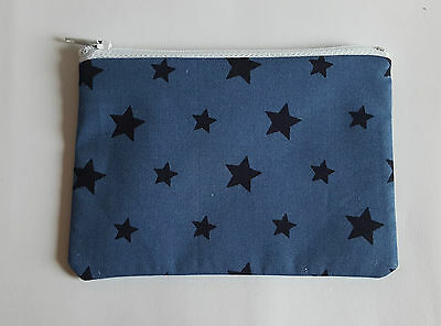 Blue with Navy Stars Fabric Handmade Zippy Coin Purse Storage Pouch