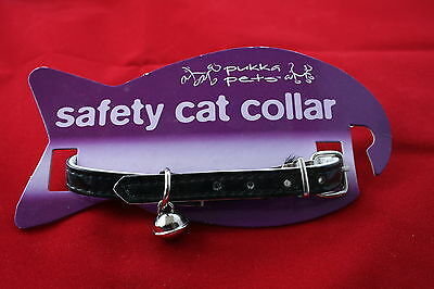 Safety Cat Collar - Black With Bell Bnwt