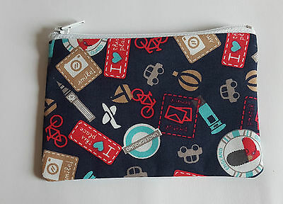 London Tourist Fabric Handmade Zip Coin Purse Storage Pouch Big Ben/Underground