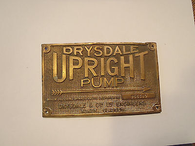Drysdale Engineers Upright Water Pump  brass plaque part
