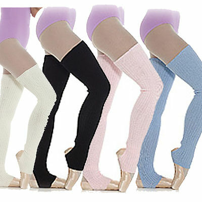 Long purple ballet legwarmers pink new knitted warm up capezio bloch dance arch