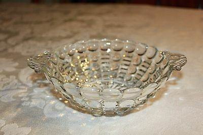 Vintage Anchor Hocking Glass Crystal Bowl in Bubble and Ladder Pattern