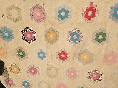 VTG Quilt Antique GRANDMAS FLOWER GARDEN Cutter Tattered Worn Beauty 72x88""