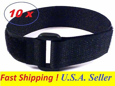 "10x Hook & Loop Cable Tie Straps Reusable Nylon Fastener Strap 3/4"" x 10"" Black"