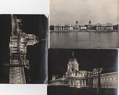 3 Postcard London Royal Naval College Greenwich -  real photo River & east front
