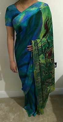 Peacock Colour Saree With Blouse