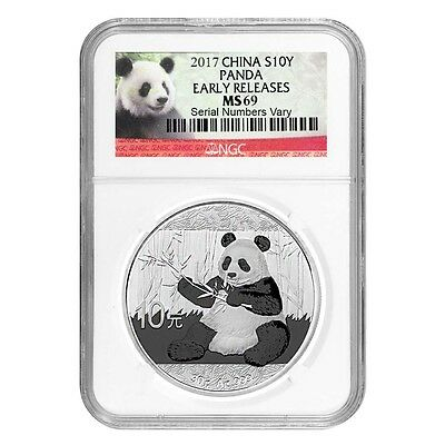 2017 30 gram Chinese Silver Panda 10 Yuan NGC MS 69 Early Releases