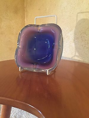 Vintage Italian Quadruple Cased Sommerso Art Glass  Murano Purple Ashtray
