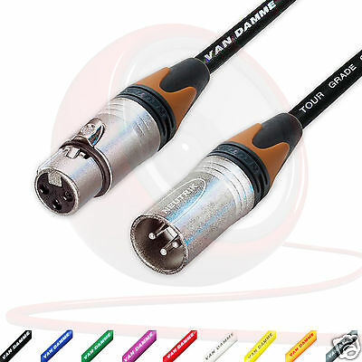 Van Damme Balanced Mic Cable. Neutrik XLR to XLR Cables. BROWN Coloured Boots