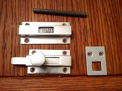 Vintage Aluminium Bathroom Vacant Engaged Door Lock Wc Lavatory Toilet Old