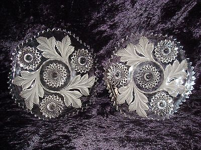 "Rare Millersburg Crystal Hobstar & Feather Frosted 7 1/2"" Plates Lot of 2"