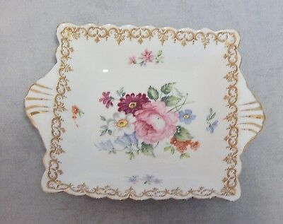 Crown Staffordshire England's Bouquet Square Handled Candy Dish
