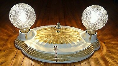 Antique vintage cast iron Lightolier 2 bulb flush mount ceiling light fixture