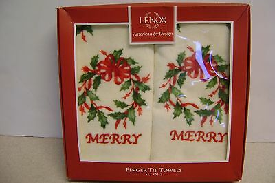 "LENOX Finger Tip Towels Set 2 New in Box ""Merry"" Wreaths"