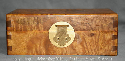 """8"""" Chinese Natural Gold Camphor Wood Palace Storage Jewelry Box Boxes Cabinet Q"""