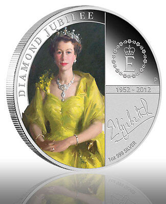 Perth Mint Queen Elizabeth II Diamond Jubilee 2012 1oz 99.9 % Silver Proof Coin
