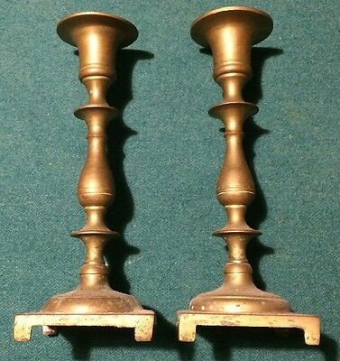 vintage Very Heavy Solid Brass Candle Sticks Holders 10""