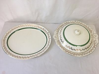 Vintage Barratts B Made in England Platter and Soup Terrine Serving Dish