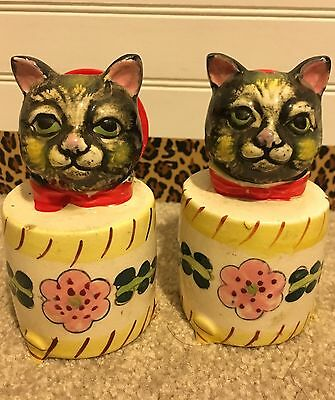 Vintage Black Cat Meowing Salt and Pepper Shakers Made In Japan