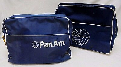 """2 Vintage Pan Am Airlines Square Zipper Blue Tote Carry On Bag ~ 15"""""""