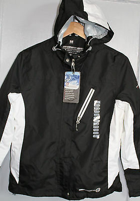 NWT Free Country Black/White Lightweight Waterproof Jacket Med