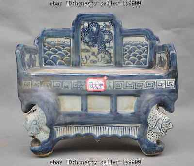 old chinese Blue and White Porcelain foo dog lion dragon bed chair Bench statue