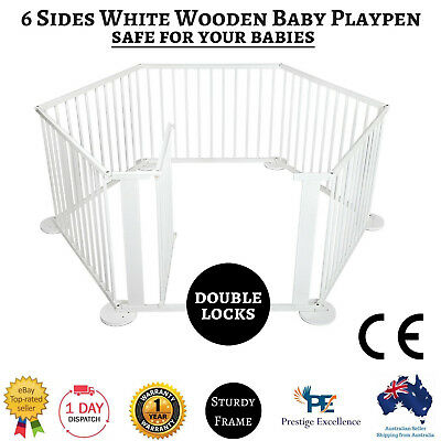 Wooden Baby Playpen with Gate Toddler 6 Panel White Safety Divider Kids Security