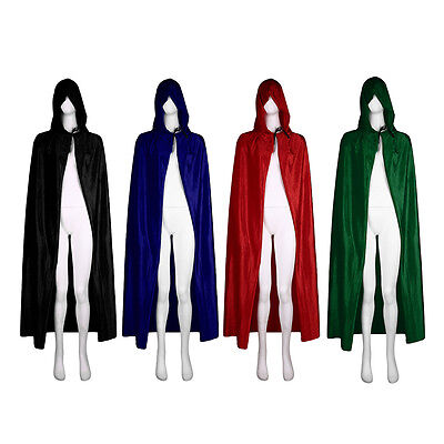 Velvet Hooded Halloween Costumes For Festival Performance Witches Cloak Cape LO