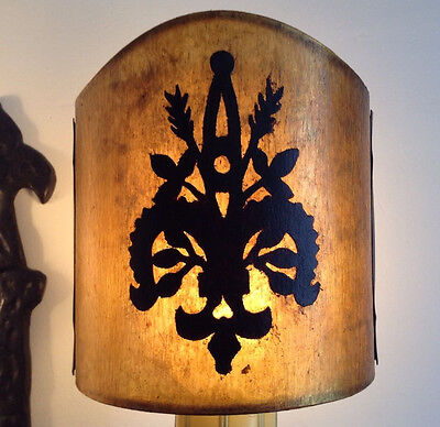 Country French Fleur De Lis Sconce Clip On Lampshade in Champagne Mica