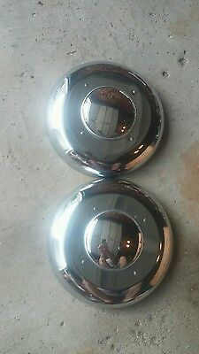 Chrome Dog Dish Moons Mirrored Vintage Hubcaps Wheel Covers Rat Rod