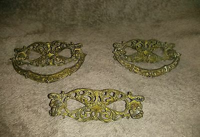 Drawer Pulls Brass Vintage Antique Ornate Hardware Set of 3