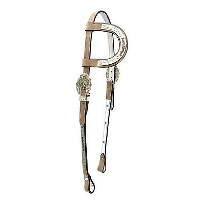Light Tan One-Ear WESTERN SHOW BRIDLE & REINS *SECOND* COB ONLY Free P&P!