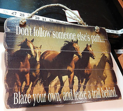 Running Horses on Wood Do not Follow Someone Elses Path Blaze Your Own