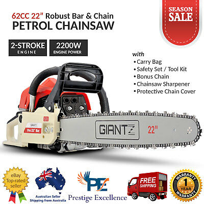 "62CC Commercial Petrol CHAINSAW 22"" Bar E-Start Tree Pruning Chain Saw with Kits"