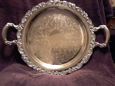 """Oneida 15"""" Round Silver Plated Serving Tray Platter"""