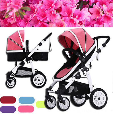 Pink 4 in 1  Luxury  Aluminium Baby Toddler Pram Stroller Jogger with Bassinet