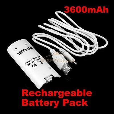 1X 3600mAH Rechargeable Battery Charger Cable for Nintendo Wii Remote Controller