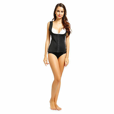 Debardeur Veste Gainant Steel Boned Bustier Sculptant Ventre Plat Push-Up Noir