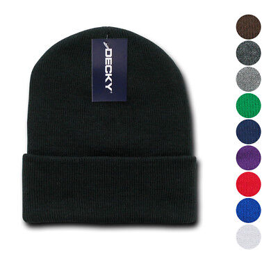 3aa1a350 Decky Beanies Cuffed Knit Ski Skull Caps Hats Snug Warm Winter Unisex