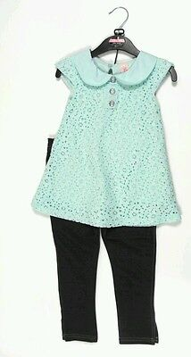 Ex Dunnes Mint Green Lace Top & Denim  Leggings Set Age  5 & 3 Years NEW