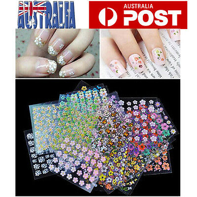 50 Sheets 3D Nail Art Sticker Tips Decal Flower Manicure Stickers Mix Colors