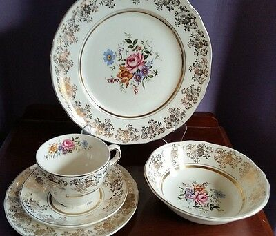 MYOTT Vintage Dinnerware English China For Six 30 Pieces 'Golden Posy' 22 k Gold