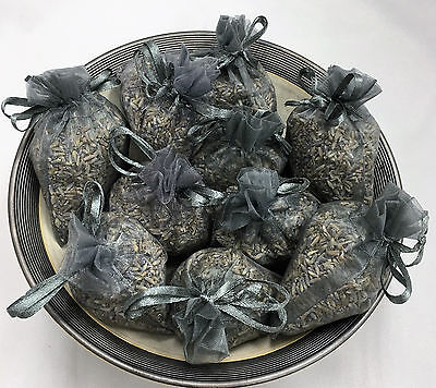 Set of 10 Lavender Sachets made with Pewter Organza Bags