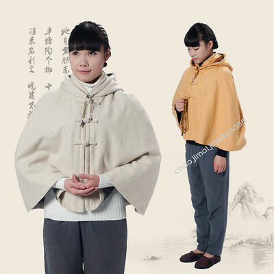 Unisex Double thickening Warm Lay Buddhist Meditation Zen Monk Cape small cloak