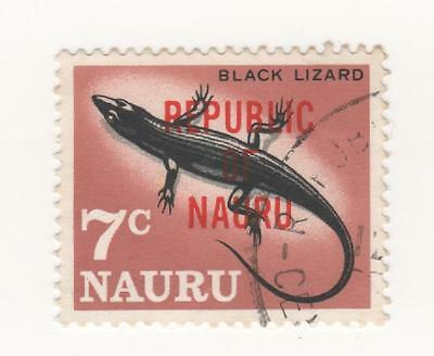 "1968 O'print REPUBLIC OF NAURU 7c "" BLACK LIZARD "" stamp  SG#85 Fine used"