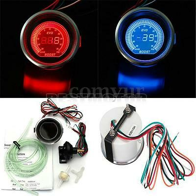 2'' 52mm PSI Turbo Auto Car LED Vacuum Boost Meter Gauge Red & Blue Display 12V